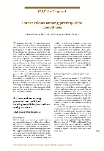 Interactions among prerequisite conditions