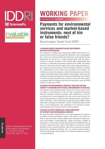 Payments for environmental services and market-based instruments: next of kin or false friends?
