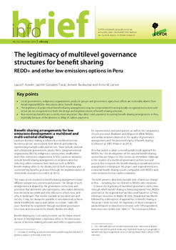The legitimacy of multilevel governance structures for benefit sharing: REDD+ and other low emissions options in Peru