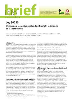 Ley 30230: Efectos para la institucionalidad ambiental y la tenencia de la tierra en Perú