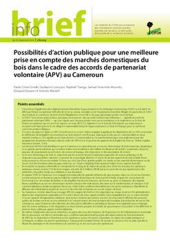 Possibilités d'action publique pour une meilleure prise en compte des marchés domestiques du bois dans le cadre des accords de partenariat volontaire (APV) au Cameroun