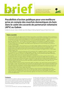 Possibilités d'action publique pour une meilleure prise en compte des marchés domestiques du bois dans le cadre des accords de partenariat volontaire (APV) au Gabon