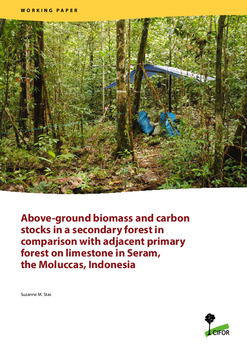 Above-ground biomass and carbon stocks in a secondary forest in comparison with adjacent primary forest on limestone in Seram, the Moluccas, Indonesia
