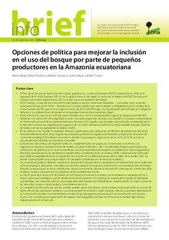 Opciones de política para mejorar la inclusión en el uso del bosque por parte de pequeños productores en la Amazonia ecuatoriana