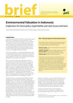 Environmental Valuation in Indonesia: Implication for forest policy, legal liability and state losses estimates