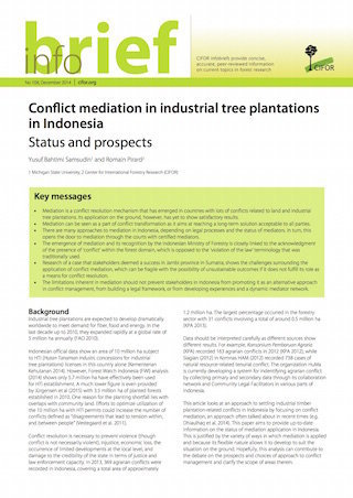 Conflict mediation in industrial tree plantations in Indonesia: Status and prospects