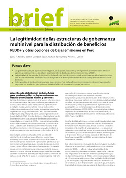 La legitimidad de las estructuras de gobernanza multinivel para la distribución de beneficios: REDD+ y otras opciones de bajas emisiones en Perú