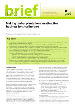 Making timber plantations an attractive business for smallholders