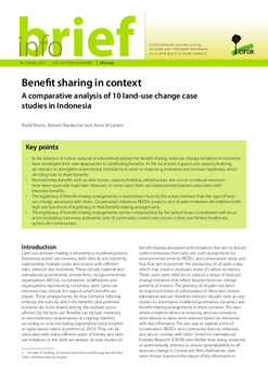 Benefit sharing in context: A comparative analysis of 10 land-use change case studies in Indonesia