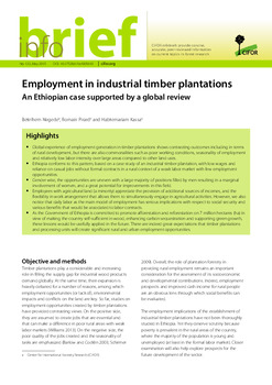 Employment in industrial timber plantations: An Ethiopian case supported by a global review
