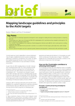 Mapping landscape guidelines and principles to the Aichi targets