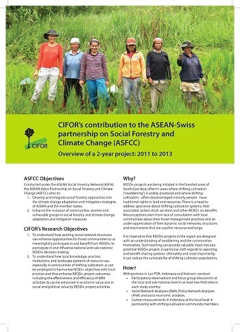 CIFOR's contribution to the ASEAN-Swiss partnership on Social Forestry and Climate Change (ASFCC): Overview of a 2-year project: 2011 to 2013
