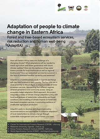 Adaptation of people to climate change in Eastern Africa: Forest and tree-based ecosystem services, risk reduction and human well-being (AdaptEA)