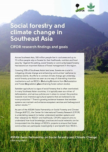 Social forestry and climate change in Southeast Asia: CIFOR research findings and goals