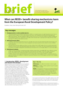 What can REDD+ Benefit Sharing Mechanisms learn from the European Rural Development Policy?