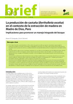 La producción de castaña (Bertholletia excelsa) en el contexto de la extracción de madera en Madre de Dios, Perú: Implicaciones para promover un manejo integrado del bosque