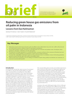 Reducing green house gas emissions from oil palm in Indonesia: Lessons from East Kalimantan