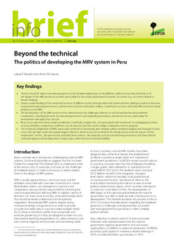 Beyond the technical: The politics of developing the MRV system in Peru