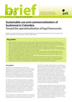 Sustainable use and commercialization of bushmeat in Colombia: Toward the operationalization of legal frameworks
