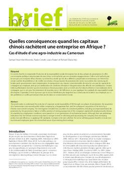 Quelles conséquences quand les capitaux chinois rachètent une entreprise en Afrique?: Cas d\'étude d\'une agro-industrie au Cameroun