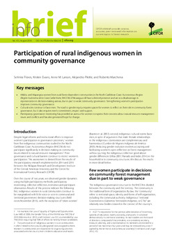 Participation of rural indigenous women in community governance