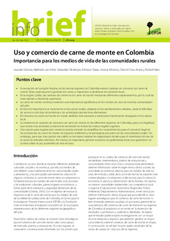 Uso y comercio de carne de monte en Colombia: Importancia para los medios de vida de las comunidades rurales