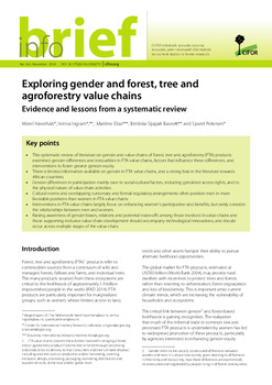 Exploring gender and forest, tree and agroforestry value chains: Evidence and lessons from a systematic review
