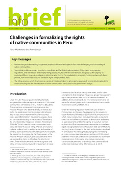 Challenges in formalizing the rights of native communities in Peru