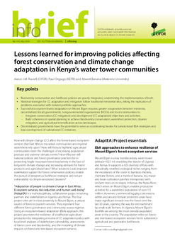 Lessons learned for improving policies affecting forest conservation and climate change adaptation in Kenya's water tower communities