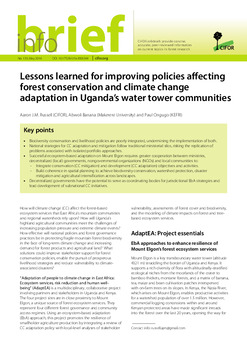 Lessons learned for improving policies affecting forest conservation and climate change adaptation in Uganda's water tower communities