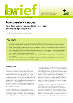 Forest use in Nicaragua: Results of a survey on gendered forest use, benefits and participation