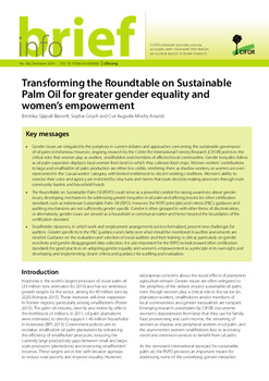 Transforming the Roundtable on Sustainable Palm Oil for greater gender equality and women\'s empowerment