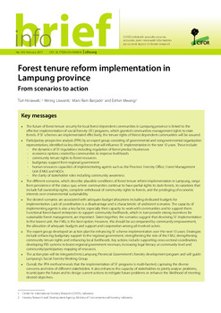 Forest tenure reform implementation in Lampung province: From scenarios to action