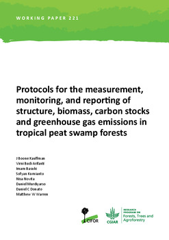 Protocols for the measurement, monitoring, and reporting of structure, biomass, carbon stocks and greenhouse gas emissions in tropical peat swamp forests