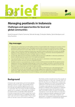 Managing peatlands in Indonesia: Challenges and opportunities for local and global communities