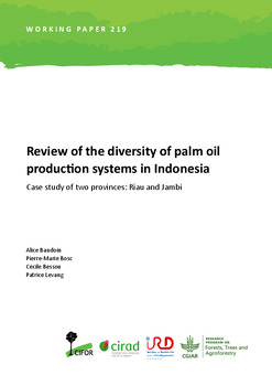 Review of the diversity of palm oil production systems in Indonesia: Case study of two provinces: Riau and Jambi