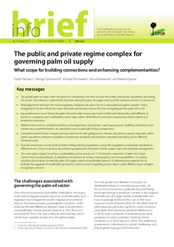 The public and private regime complex for governing palm oil supply: what scope for building connections and enhancing complementarities?