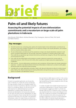 Palm oil and likely futures: Assessing the potential impacts of zero deforestation commitments and a moratorium on large-scale oil palm plantations in Indonesia