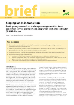 Sloping lands in transition: Participatory research on landscape management for forest ecosystem service provision and adaptation to change in Bhutan [SLANT-Bhutan]