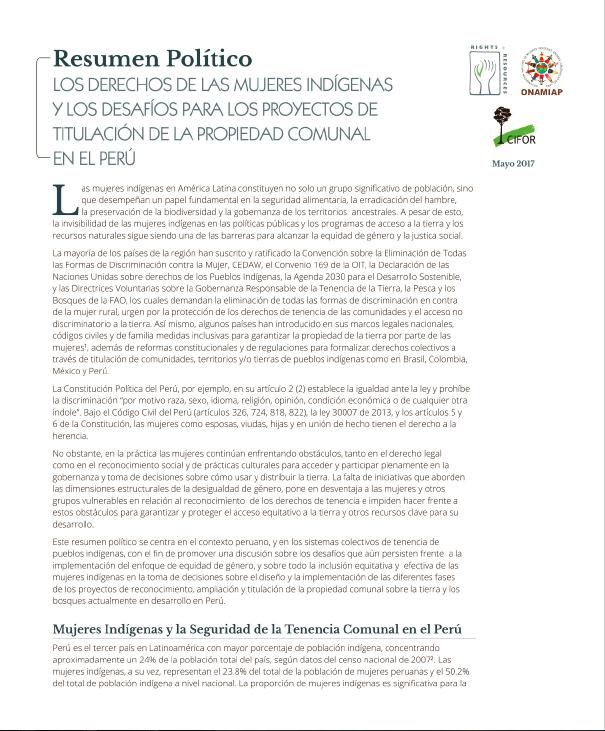 Los derechos de las mujeres indígenas y los desafíos para los proyectos de titulación de la propiedad comunal en el Perú: Resumen Político