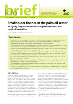 Smallholder finance in the palm oil sector: Analyzing the gaps between existing credit schemes and smallholder realities