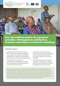 Pour une meilleure gestion des ressources naturelles: développement, mobilisation, formation universitaire et recherche scientifique