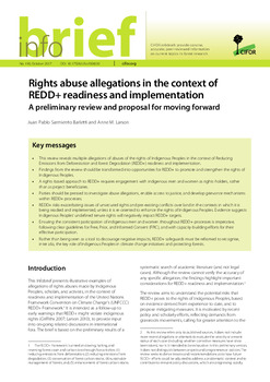 Rights abuse allegations in the context of REDD+ readiness and implementation: A preliminary review and proposal for moving forward