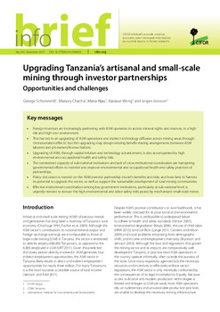 Upgrading Tanzania's artisanal and small-scale mining through investor partnerships: Opportunities and challenges