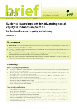 Evidence-based options for advancing social equity in Indonesian palm oil: Implications for research, policy and advocacy