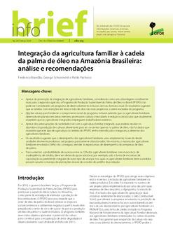 Integração da agricultura familiar à cadeia da palma de óleo na Amazônia Brasileira: análise e recomendações