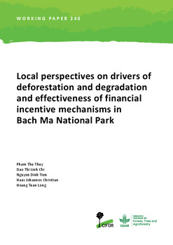 Local perspectives on drivers of deforestation and degradation and effectiveness of financial incentive mechanisms in Bach Ma National Park