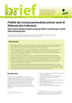 Praktik dan inovasi permodalan petani sawit di Malaysia dan Indonesia: Solusi permodalan jangka panjang dalam membangun rantai nilai berkelanjutan