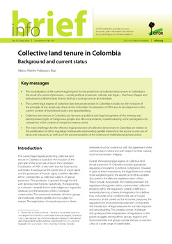 Collective land tenure in Colombia: Background and current status