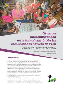Género e interculturalidad en la formalización de las comunidades nativas en Perú: Desafíos y recomendaciones